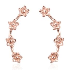 Rose Gold Overlay Sterling Silver Flower Climber Earrings