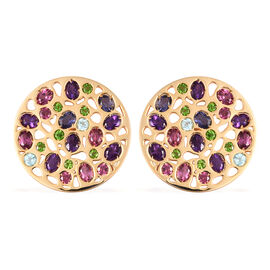 RACHEL GALLEY Rhodolite Garnet, Russian Diopside and Multi Gemstone Stud Earrings (with Push Back) i