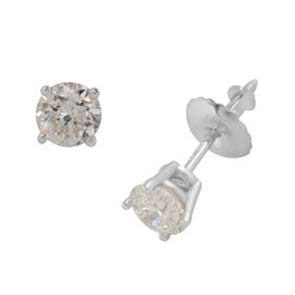 14K White Gold Diamond (SI/G-H) Solitaire Stud Earrings (with Screw Back) 0.65 Ct.