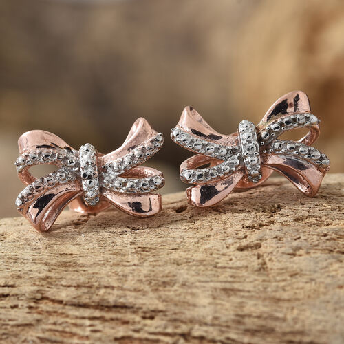 Diamond (Rnd) Bow Earrings (with Push Back) in Rose Gold and Platinum Overlay Sterling Silver