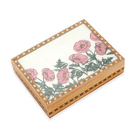 Wooden Jewellery Box with Hand-painted Gemstone Flower (Size 20.3x15.2x5.5 Cm) - Multicolour