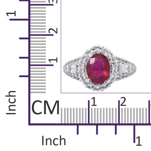 Designer Inspired-African Ruby (Ovl 9x7 mm 2.59 Ct), White Topaz Ring in Rhodium Overlay Sterling Silver 4.670 Ct.