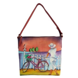 SUKRITI - 100% Genuine Leather Coral Colour Hand Painted Lady with Bicycle Pattern Bag (Size 28x26.5