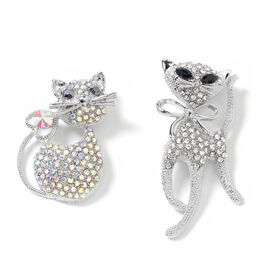 Set of 2 - Magic Colour Austrian Crystal (Rnd), White and Silver Grey Austrian Crystal and Simulated Black Onyx Kitty Brooch in Silver Plated