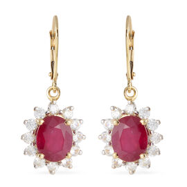 9K Yellow Gold AAA African Ruby (Ovl), Natural White Cambodian Zircon Lever Back Earrings 10.40 Ct.