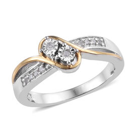 Diamond (Rnd) Bypass Ring in Yellow Gold and Platinum Overlay Sterling Silver 0.100 Ct.