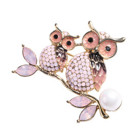 Simulated Pearl, Simulated Pink Sapphire, Black and Pink Austrian Crystal Enamelled Owl Brooch in Go