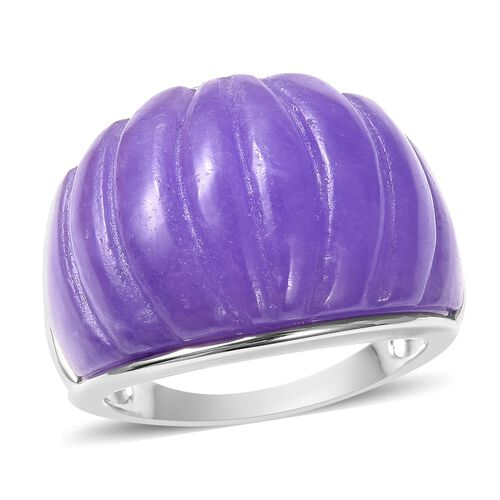 28.75 Ct Carved Purple Jade Cocktail Ring in Rhodium Plated Silver