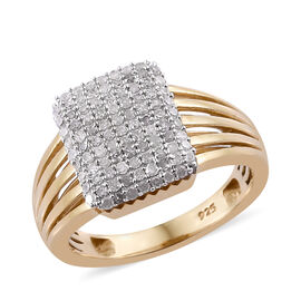 0.50 Carat Diamond Cluster Ring in Gold Plated Sterling Silver