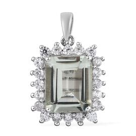5.50 Ct Prasiolite and Zircon Halo Pendant in Platinum Plated Sterling Silver