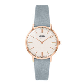 ROSE GOLD CASE CREAMY WHITE DIAL SKY BLUE SUEDE STRAP