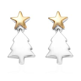 Platinum and Yellow Gold Overlay Sterling Silver Christmas Tree Earrings (with Push Back)