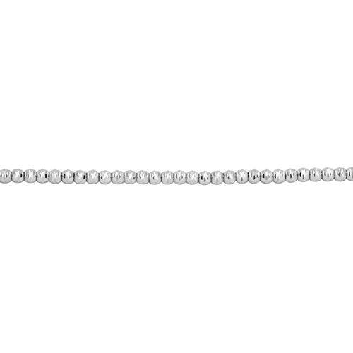 9K White Gold Diamond Cut Beaded Bracelet (Size 7 with 1 inch Extender).Gold Wt 3.00 Gms