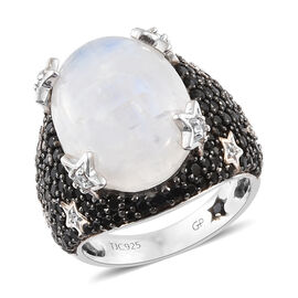 GP 14 Carat Rainbow Moonstone and Milti Gemstone Cluster Ring in Platinum Plated Silver 5.60 Grams