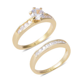 2 Piece Set - ELANZA Simulated Diamond (Rnd) Ring in Yellow Gold Overlay Sterling Silver, Silver wt