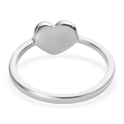 Platinum Overlay Sterling Silver Mini Heart Promise Ring