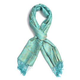SILK MARK - 100% Superfine Silk Turquoise Colour Scarf (Size 180x70 Cm) (Weight 125-140 Grams)