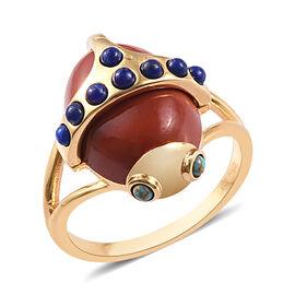 Sundays Child - Orange Jasper, Lapis Lazuli, Blue Mojave Turquoise Ring in Yellow Gold Vermeil Sterl