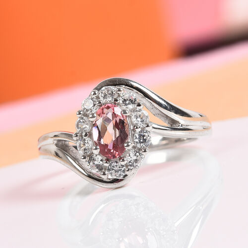 AA Pink Tourmaline and Natural Cambodian Zircon Ring in Platinum Overlay Sterling Silver 0.91 Ct.