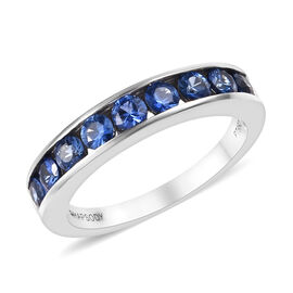 RHAPSODY 950 Platinum AAAA Royal Ceylon Sapphire (Rnd) Half Eternity Band Ring 1.100 Ct.