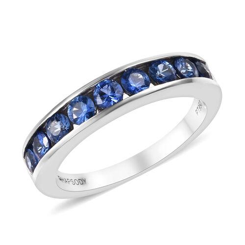 RHAPSODY 950 Platinum AAAA Royal Ceylon Sapphire (Rnd) Half Eternity Band Ring 1.100 Ct.