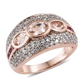 Marropino Morganite (Ovl 1.45 Ct), Natural Cambodian Zircon and African Ruby Ring in Rose Gold Overl