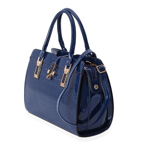 Designer Inspired-Navy Colour Middle Size Tote Bag with Removable Shoulder Strap and Handle Drop (Size 31.5x25x12 Cm)