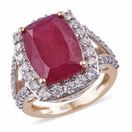 11.85 Ct AAA African Ruby and Zircon Halo Ring in 9K Gold 4 Grams