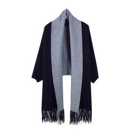 Kris Ana Wrap with Tassels (Size One, 8-18) - Black and Grey