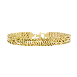 Italian Made - 9K Yellow Gold Diamond Cut Curb Spiga Bracelet (Size 7) with Lobster Lock, Gold wt 4.