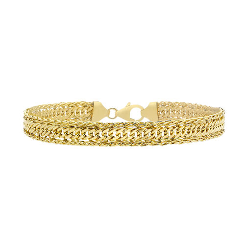 Italian Made - 9K Yellow Gold Diamond Cut Curb Spiga Bracelet (Size 7) with Lobster Lock, Gold wt 4.