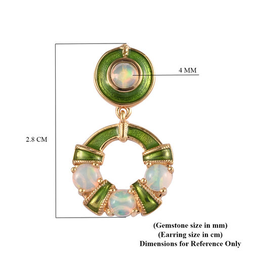 AA Ethiopian Welo Opal Enamelled Earrings (with Push Back) in 14K Gold Overlay Sterling Silver 1.50 Ct.