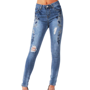 Blue Flower Embellished Diamante Stud Detail High Waist Skinny Jeans