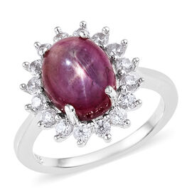 5 Ct Kenyan Star Ruby and White Zircon Halo Ring in Platinum Plated Sterling Silver