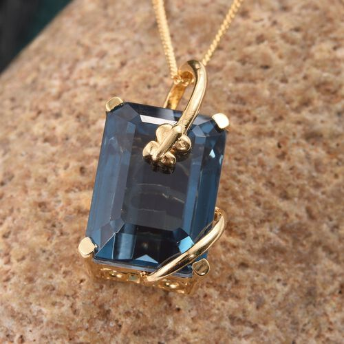 Indicolite Quartz (Oct) Solitaire Pendant With Chain in 14K Gold Overlay Sterling Silver 9.000 Ct.