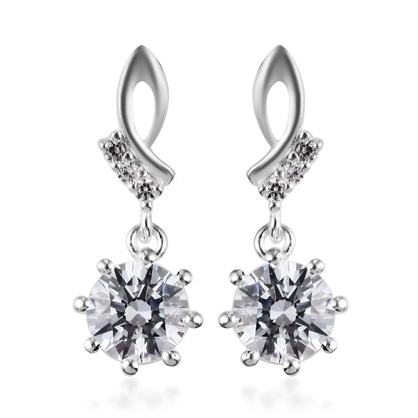 J Francis Sterling Silver Dangle Earrings (with Push Back) Made with SWAROVSKI ZIRCONIA