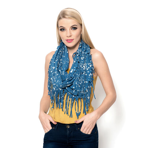 100% Cotton White and Blue Colour Printed Snood (Size 110x45 Cm)