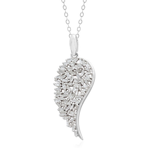 Firecracker Diamond (Bgt) Angel Wing Pendant With Chain in Platinum Overlay Sterling Silver 0.500 Ct.