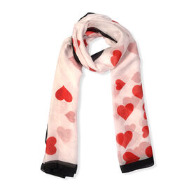 100% Mulberry Silk Heart Pattern Scarf (Size 180x100)