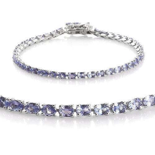 Tanzanite (Ovl) Tennis Bracelet (Size 7.5) in Platinum Overlay Sterling Silver 7.500 Ct., Silver wt: 7.53 Gms.