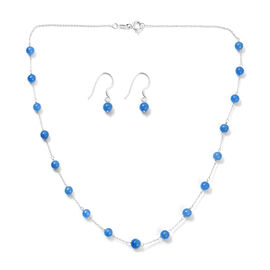 2 Piece Set - Blue Jade Station Necklace (Size 18) and Hook Earrings in Sterling Silver 27.75 Ct.
