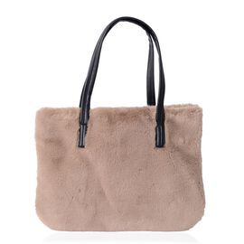 Super Soft Cream Colour Beige Faux Fur Large Tote Bag (Size 36x26 Cm)