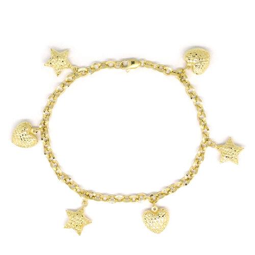 Designer Inspired 9K Yellow Gold Star and Heart Charm Belcher Bracelet (Size 8), Gold wt 4.61 Gms.