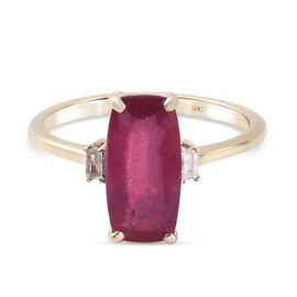 9K Yellow Gold AA African Ruby (FF) and Diamond Ring 3.39 Ct