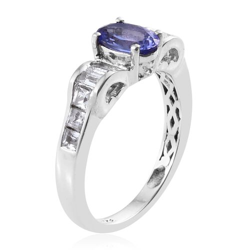 One Time Deal AA Tanzanite (Ovl 1.00 Ct), White Topaz Ring in Platinum Overlay Sterling Silver 1.750 Ct.