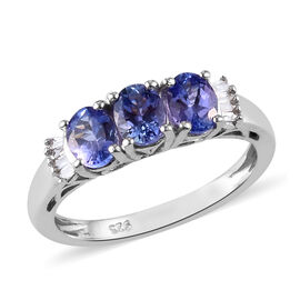 Premium Tanzanite and Diamond Ring in Platinum Overlay Sterling Silver 1.25 Ct.