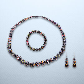 3 Piece Set -  Black Murano Style  Glass Necklace (Size 20 with Magnetic Lock), Stretchable Bracelet