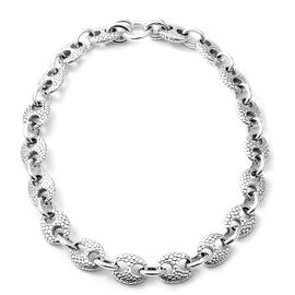 Mariner Link Necklace in Rhodium Plated Sterling Silver 58.59 Grams 20.5 Inch