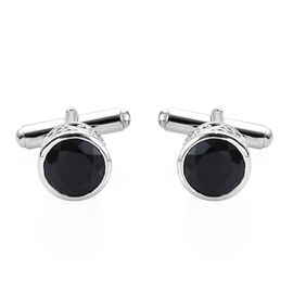 Boi Ploi Black Spinel (Rnd) Cufflink in Platinum Overlay Sterling Silver 9.000 Ct.