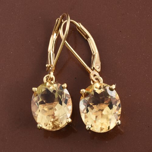 Citrine (Ovl) 7 Carat Silver Lever Back Earrings in 14K Gold Overlay